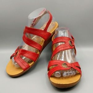 "BARE TRAPS ""Jollity"" Red Strappy Sandals 8.5"